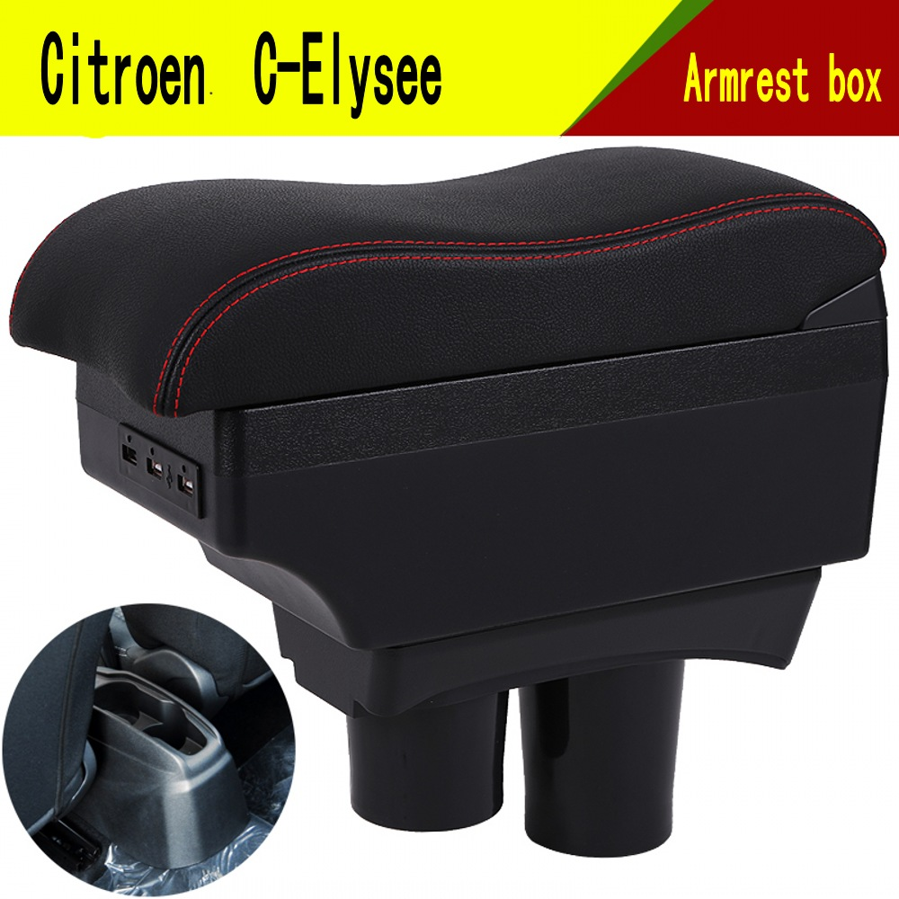 For C-Elysee Elysee 301 armrest box central Store content Storage box with cup holder mobile phone holder USB interface