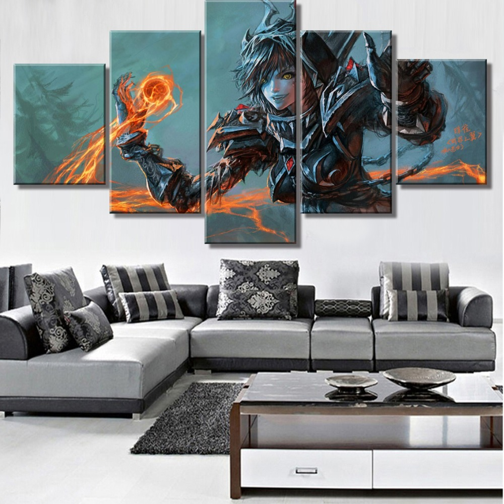 Modular 5 Piece Canvas Art Warcraft Game Poster Modern Decorative Paintings on Canvas Wall Art for Home Decorations Wall Decor in Painting Calligraphy from Home Garden