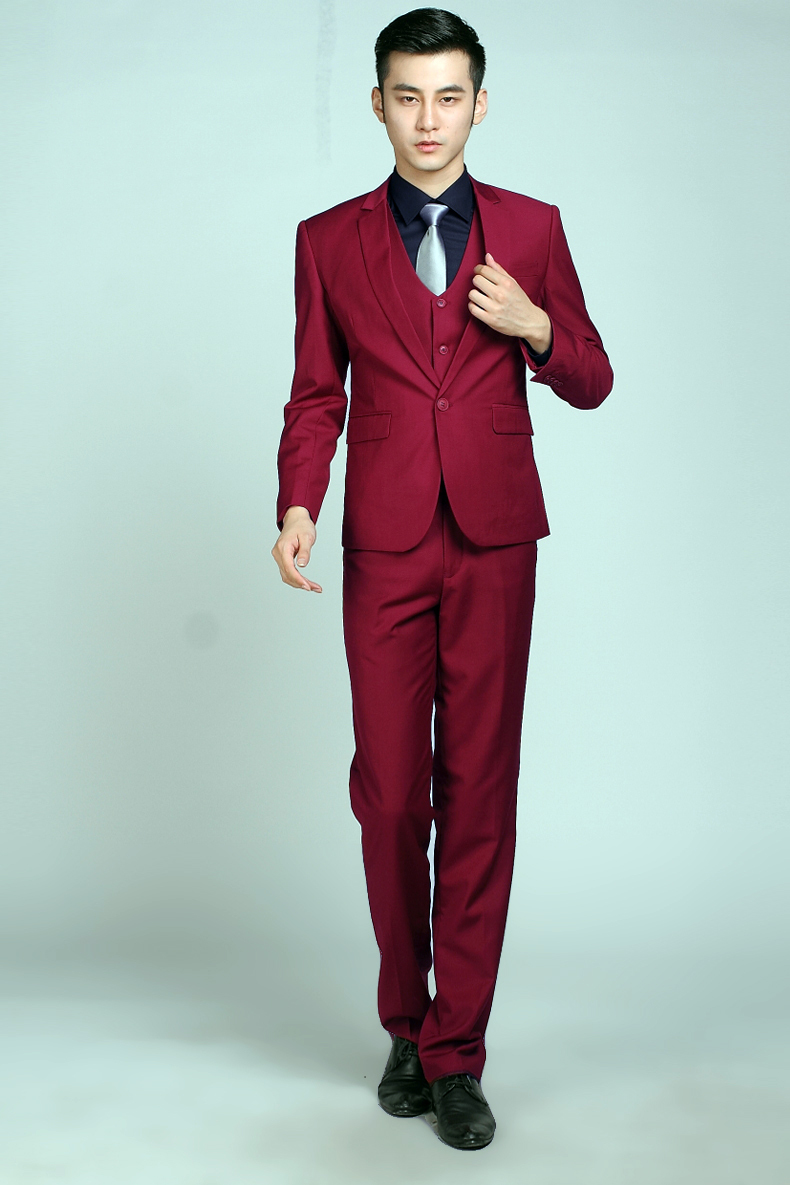 Autumn new men the groom\'s best man suit wine red wedding ...