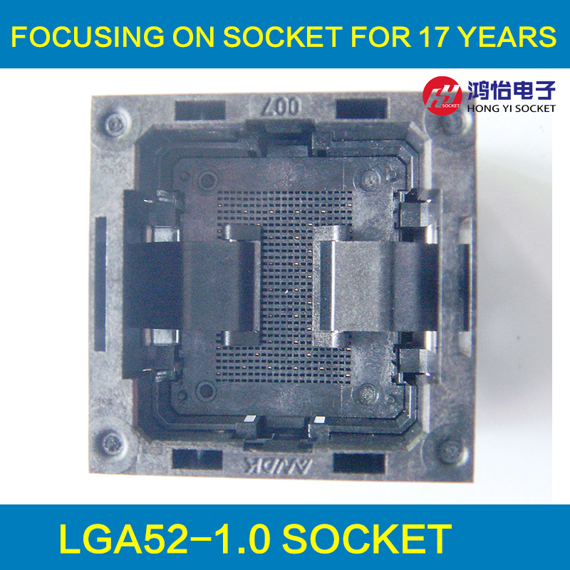 LGA52 Socket Open Frame Structure IC Test Socket Burn-in Socket Size 14*18mm Programming Socket LGA Adapter block tqfp64 ucos dedicated ic programming zy501b test socket adapter burn