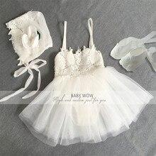 Neugeborene Baby-kleidung Mädchen Kleid + Hut + Schuhe Kleidung Anzüge für Weihnachten Geburtstag Party Kleid Geschenk 80233