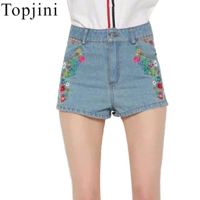 Topjini Новая Мода 2017 Лето Высокого качества Женщин Джинсовые Шорты Флаг США Вышивка Повседневная Короткие Штаны Для Женщин
