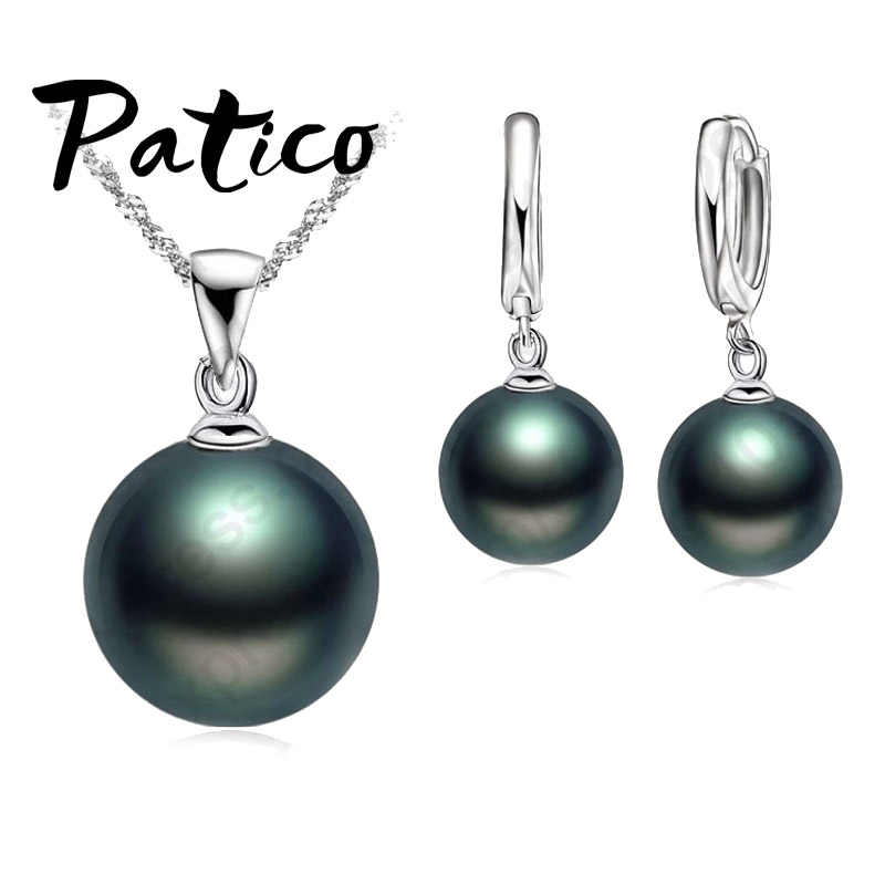 Freshwater Black Pearl Jewelry Sets 925 Sterling Silver Necklace Natural Pearl Dangle Earrings Wedding Jewelry Sets
