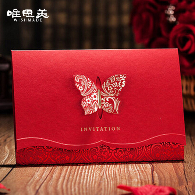 Wishmade 12pcs/lot 2D Laser-Cut Red Butterfly Wedding Invitations Card Customized & Printing Golden Foil Invites Cards CW504