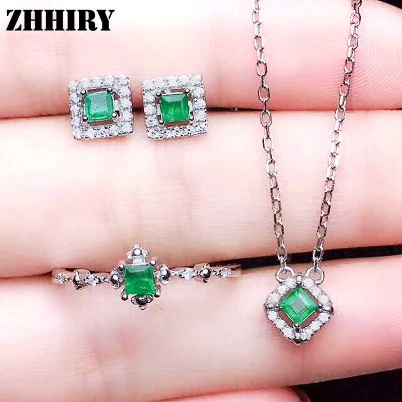 Natural Emerald Jewelry Sets Genuine Solid 925 Sterling Silver For Women Gemstone Ring Necklace Earring ZHHIRY недорого