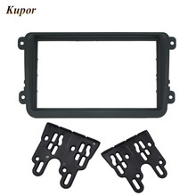 Double 2 Din Car DVD Frame for Volkswagen VW Touran Golf Passat Caddy Stereo Radio Dash Kit Trim Bezel Fascia Facia Adapter(China)