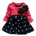 2016 outono 1-6 anos crianças roupas infantil roupas corpete vestido da menina vestidos de bebê vestido de princesa polka dot mock 2 pcs