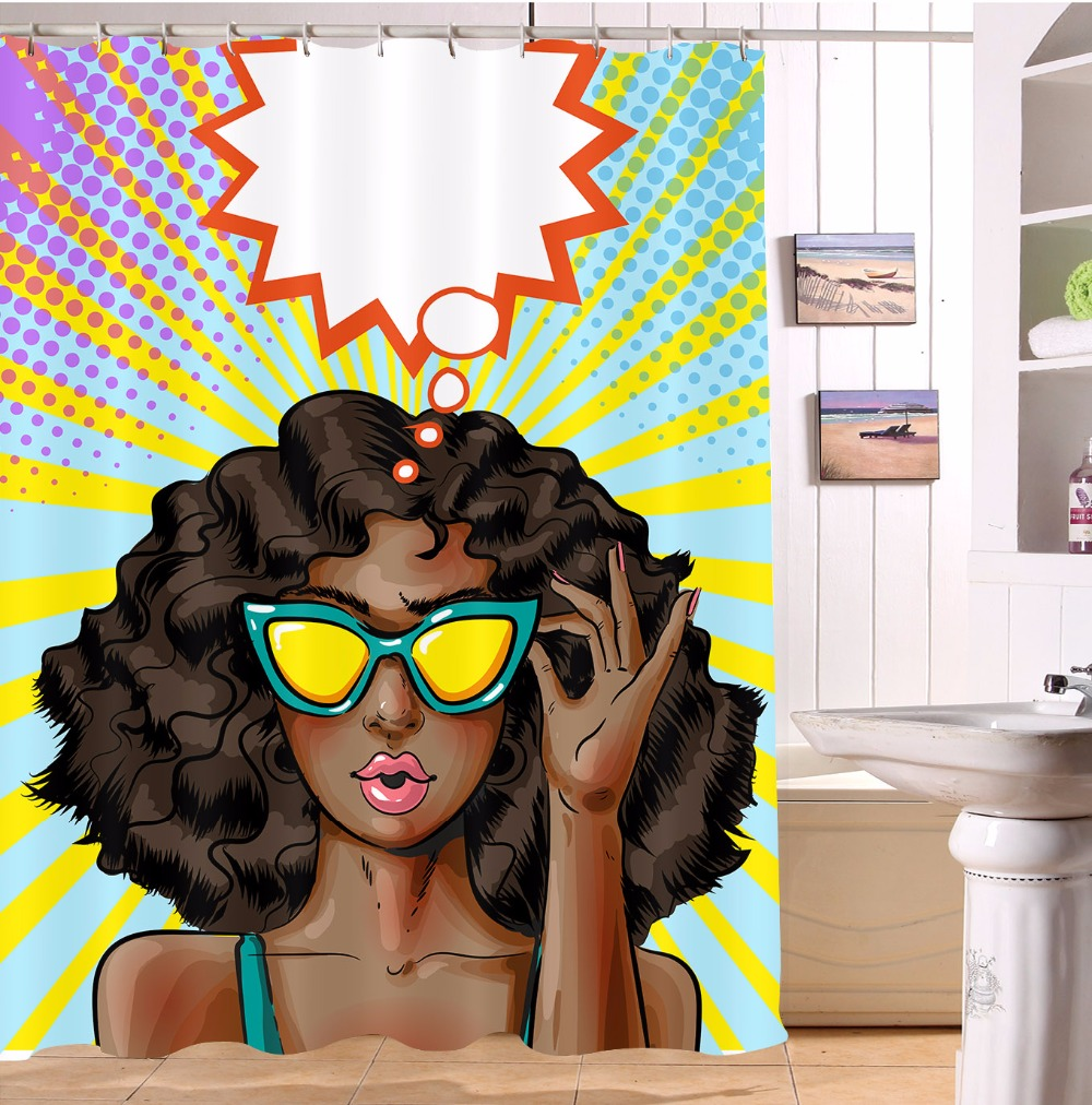 72 Mardi Gras African Black Afro Woman Party Cosplay Custom Bathroom Shower Curtain 12 Hooks Waterproof Fabric Anti Mildew In Curtains From Home