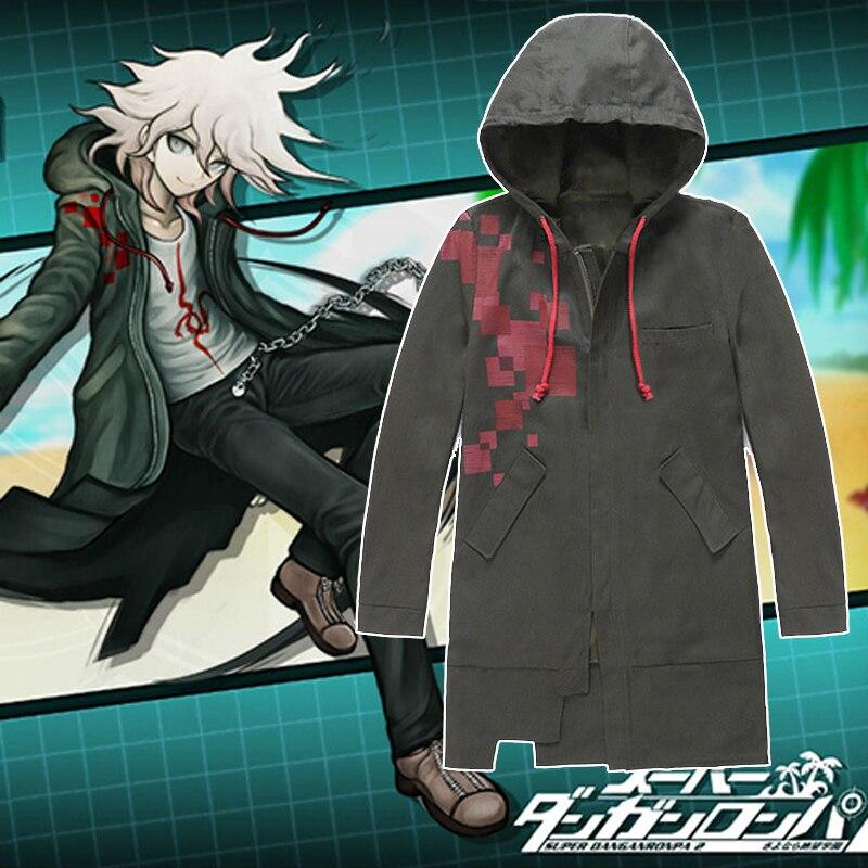 Super Danganronpa 2 Ronpa Nagito Komaeda Cosplay Costume Coat Dust Trench Jacket