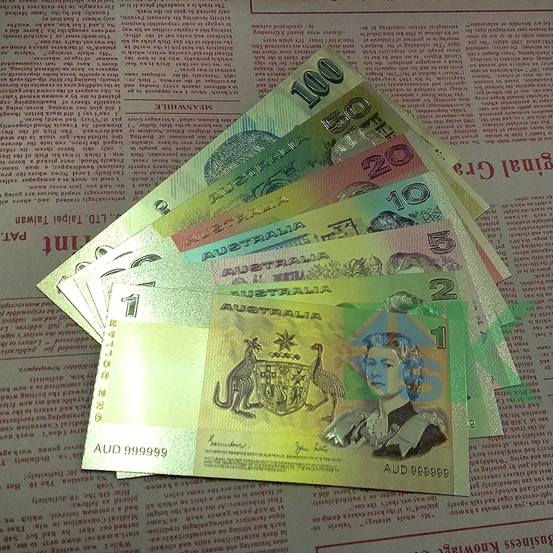 US $17 0 |7pcs/lot 7 different design Old version The Australia Dollar Gold  Foil Colorful plated Banknote Collection Creative Paper money-in Gold