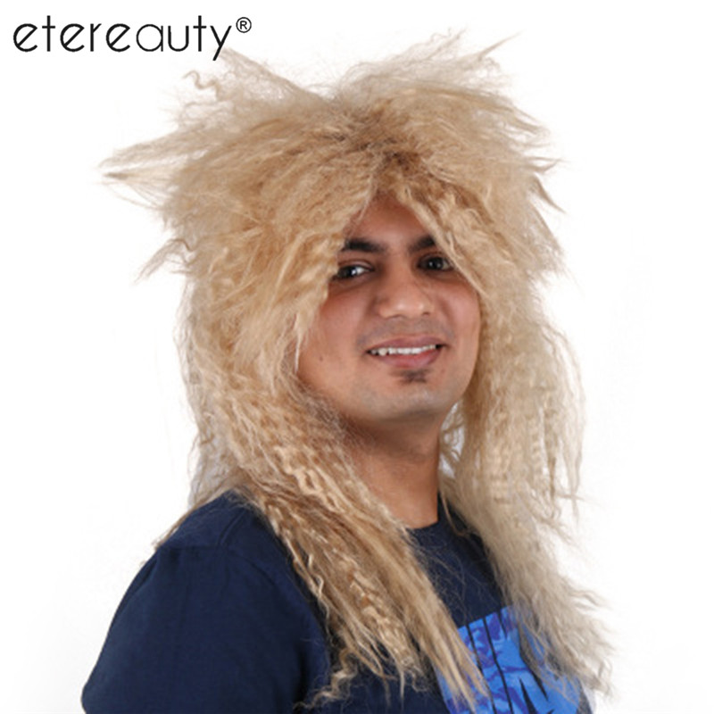 Men's Heavy Metal Rocker Wig Headbanger Wig Cosplay Punk Rocker Costume (Blonde) silver gray cosplay adult wig page 5