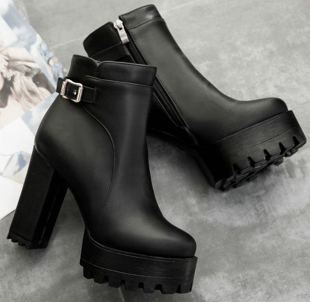 fashion 2017 women boots Square heel shoes woman zipper Ankle Spring Autumn Boots sexy platform high heels ladies boots size 43 vladimir nabokov glory