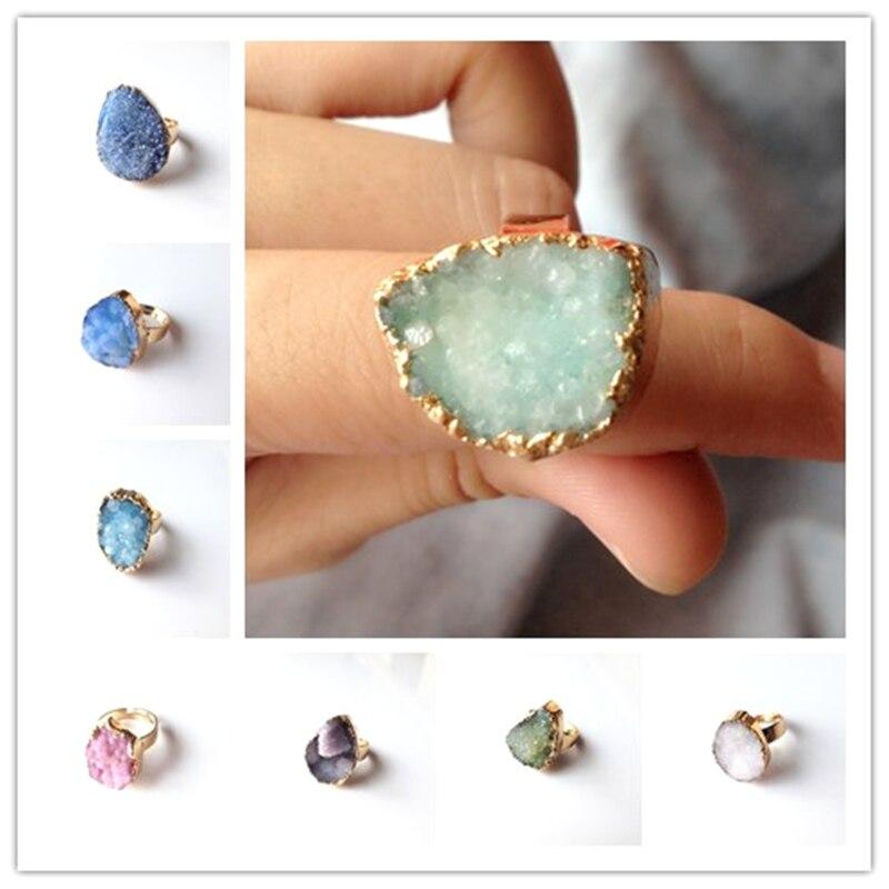 Nya geometriska Druzy Ring Många färger Alternativ Naturliga kvarts - Märkessmycken - Foto 4