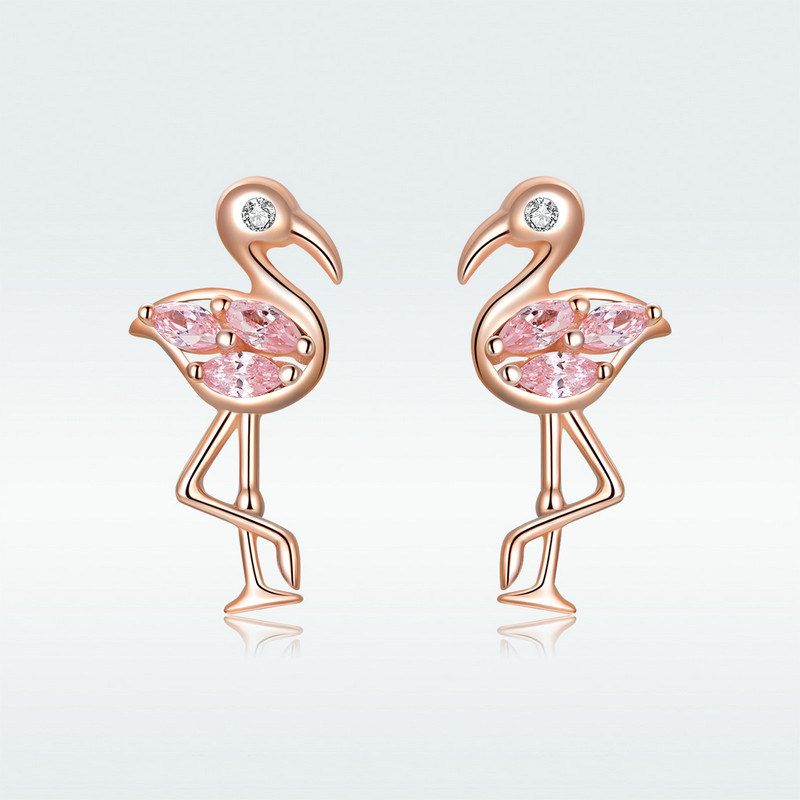 BISAER Stud Earrings Flamingos Rose Gold Colored Elegant Real 925 Sterling Silver For Women Gift Hot Tropical Style New HVE120