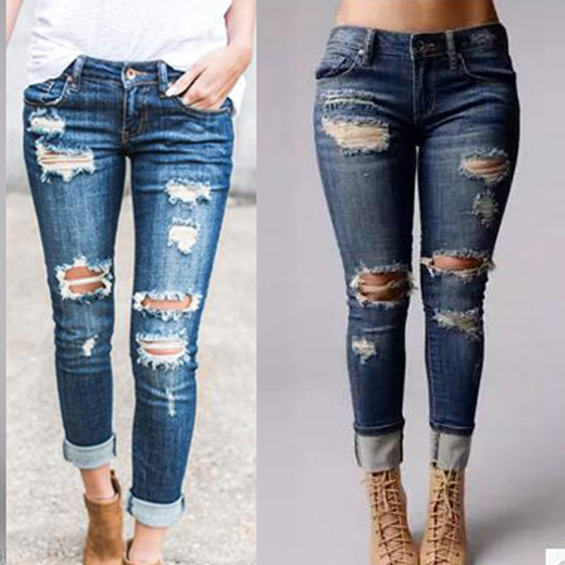 Casual Long Jeans Women High Waist Skinny Pencil Blue Denim Pants Ladies Ripped Hole Vintage Slim Fit Skinny Mom Jean Boyfriend