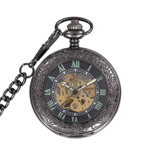 Relógio de Bolso do Vintage Relógio de Bolso Fob com Corrente Steampunk Esqueleto Preto Automático Vento Mão Mecânica Homens Colar & Mod. 141401