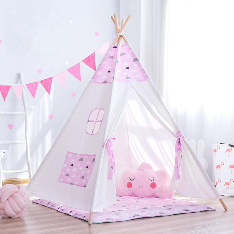 Pink Clouds Teepee Tent Indoor Childrens Play Tipi rubin childrens friendships cloth