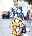 Azul con motivos florales de impresión de las mujeres remata la blusa + amarillo irregular traje de falda de dos piezas set nuevo 2017 primavera verano vestidos de la celebridad desgaste