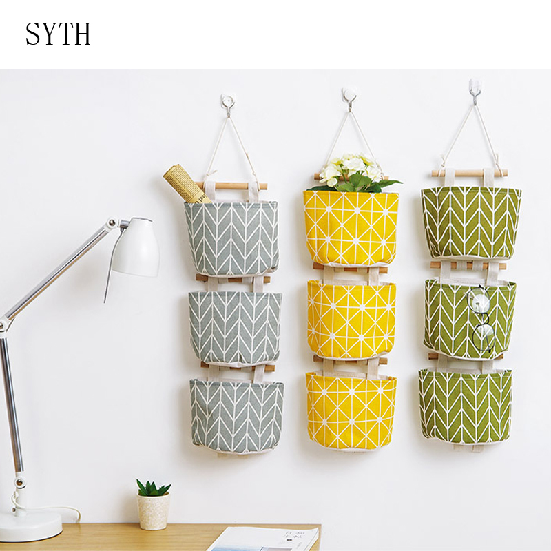 Pattern Cotton Linen Hanging Storage Bag  Wall Mounted Wardrobe Hang Bag Wall Pouch Cosmetic Toys Organizer