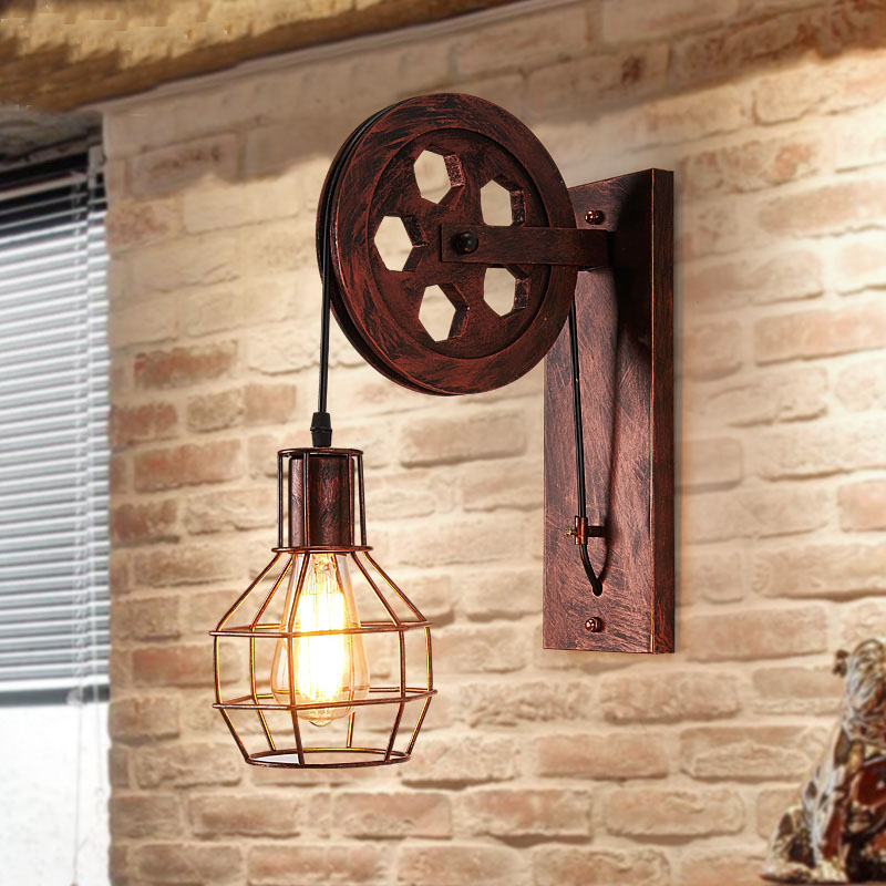 new classical industrial retro iron creative personality pulley wall lamp wood lift wheel wall. Black Bedroom Furniture Sets. Home Design Ideas