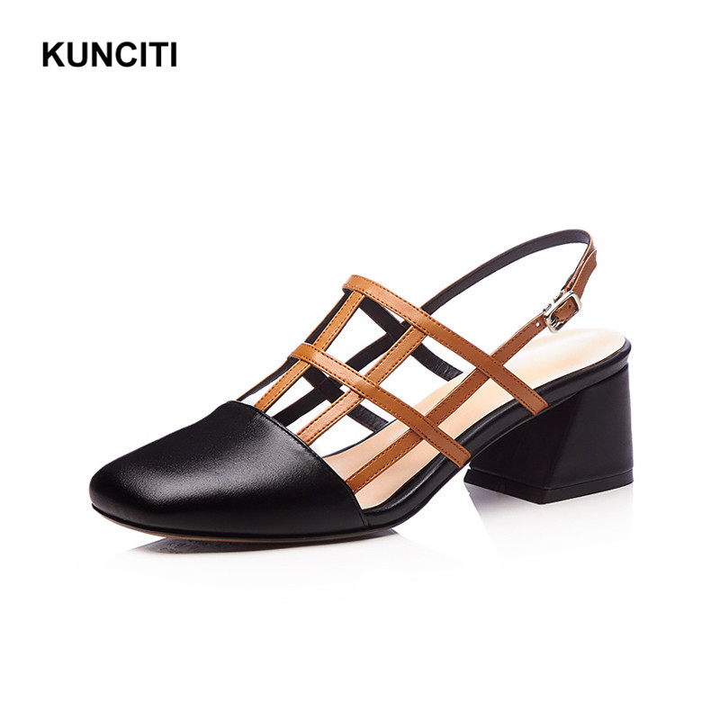 5b80f1234 Designer Sandals Sandals Leather Out KUNCITI Rome Heel Match Shoes  Gladiator Chunky 2018 S46 Hollow High ...