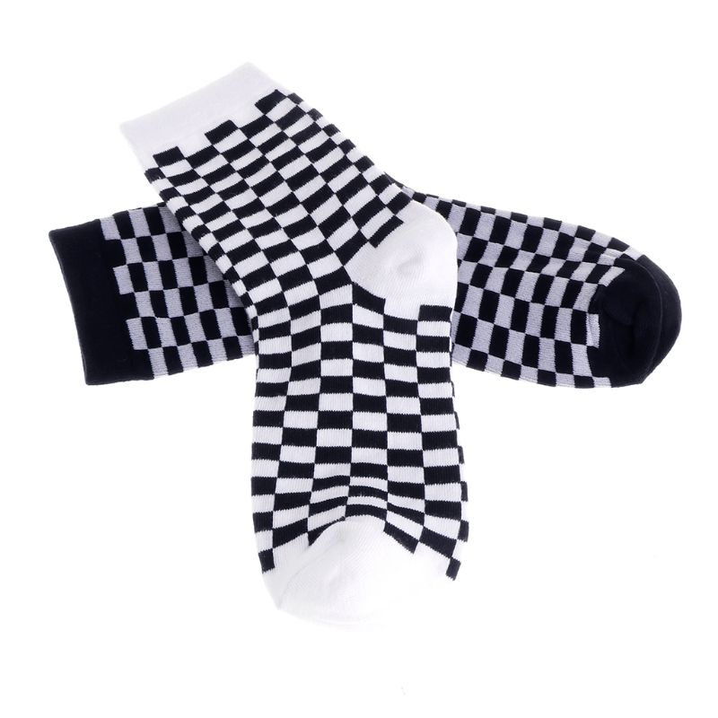Fashion New 1 Pair Trends Unisex Socks Checkerboard Geometric Checkered Men Women Cotton Socks High Quality