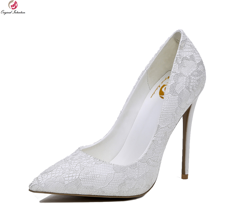 Original Intention New Elegant Women Pumps Grace Pointed Toe Thin High Heels Pumps Nice White Shoes Woman Plus US Size 4-10.5 bowknot pointed toe women pumps flock leather woman thin high heels wedding shoes 2017 new fashion shoes plus size 41 42