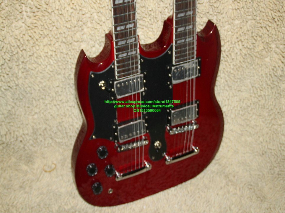 Free shipping Custom 1275 Double Neck Left Handed Guitar Red 6 / 12 Strings electric guitar