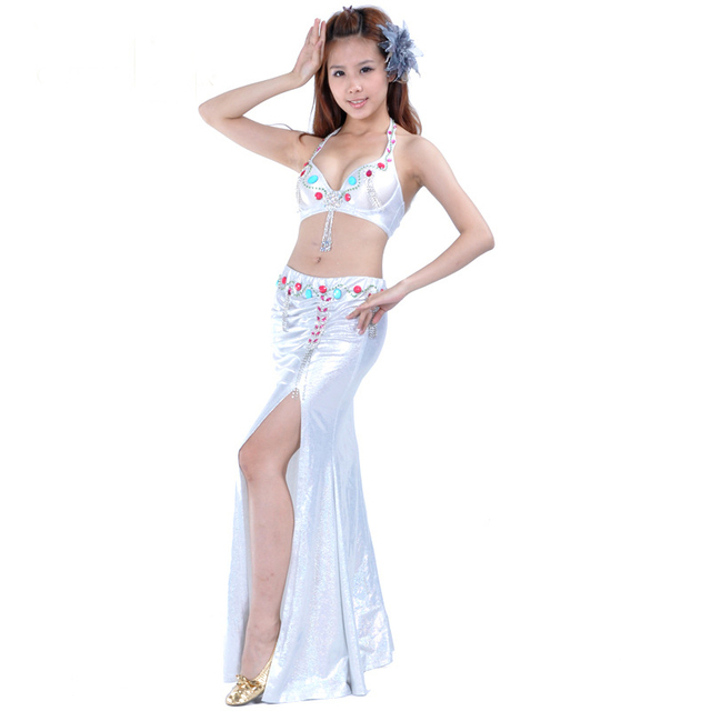 d6e6b16cc Women Fashion Holographic Belly Dance Costume Set Sexy Belly Dance Halter  Top & Skirt Ladies 2
