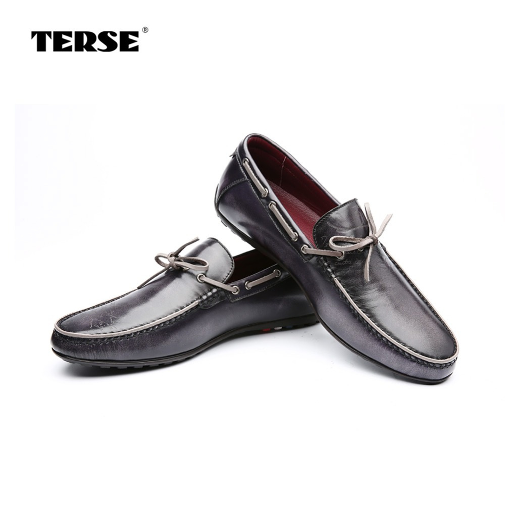 цена TERSE Fashion Shoes Men 100% Handmade Genuine Leather High Quality Calf Hide Male Footwear Custom Logo Luxury Loafer Shoes 001 онлайн в 2017 году