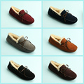 US6-12 Plus Size 46 Six Colors Mens Slip on Suede Leather Wool Loafers Winter Casual Fur Lined Driving Car Shoes