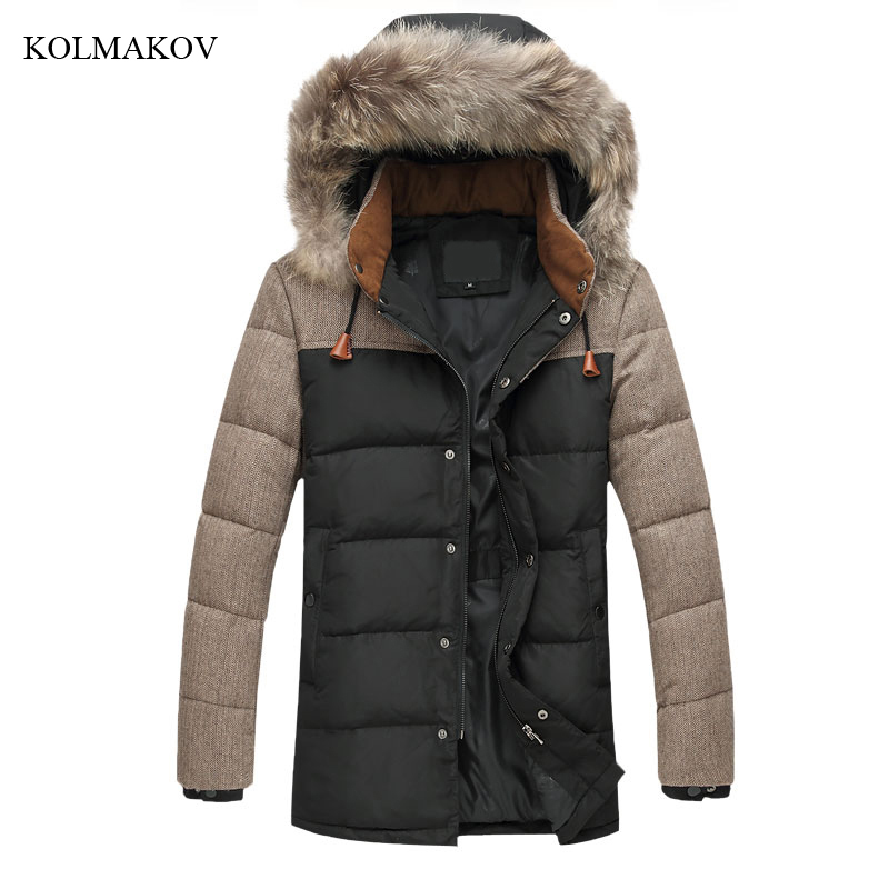 New Arrival Winter Style Boutique Leisure   Down     Coats   High Quality Fur Collar Detachable Hat Patchwork Warm   Down   Jacket M-5XL