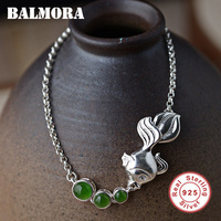 BALMORA 100% Real 925 Sterling Silver Goldfish Bracelets for Women Mother Gift Green Stone 16+5cm Cute Animal Jewelry JLB80853