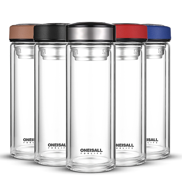 500ML Double Wall Glass Water Tea Cup Juice Coffee Tumbler Bottles Stainless Steel Tea Infuser Water Mugs Coffee Cups Portable