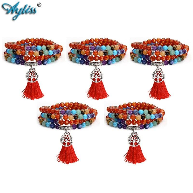 Ayliss 2018 Wholesale 7 Chakra Buddhist Mala Prayer Bead 108 Meditation Healing Multilayer Bracelet/Necklace Tree of Life Tassel