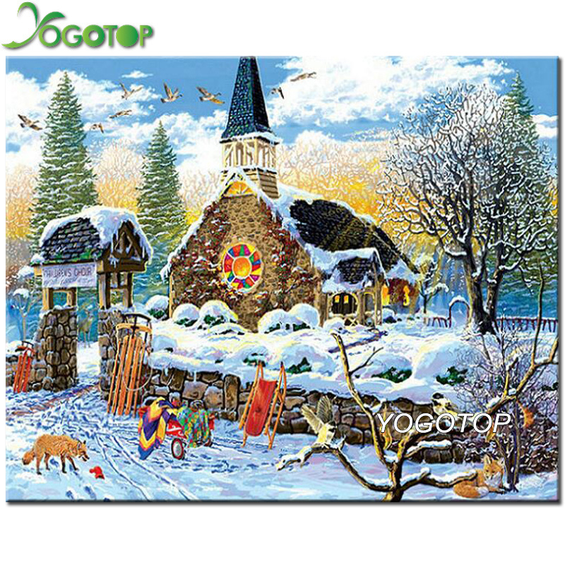 Needle Arts & Crafts Home & Garden Initiative Yogotop Snow House Landscape Full Square/round Diamond Painting Cross Stitch Diy Embroidery Mosaic Drill Christmas Decor Yy134 Highly Polished