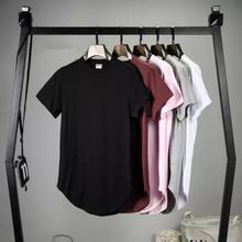 2016 Мужская большой и высокий Clothing designer citi тенденции Одежды Т рубашка homme Изогнутые подол Tee plain white Продлен футболка Kpop
