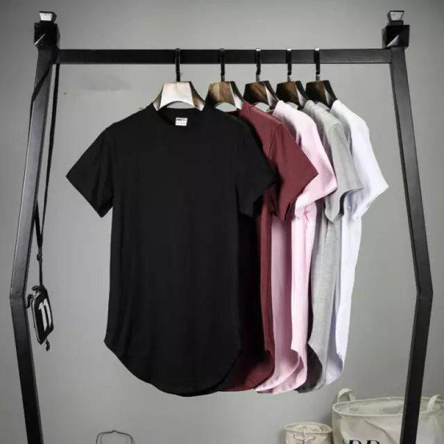 2016 Mens big and tall Clothing designer citi trends Clothes T shirt homme Curved hem Tee plain white Extended T shirt Kpop