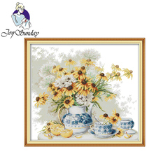 Joy Sunday,Daisies,cross stitch embroidery set,Needlework counted cross-stitch patterns,Flower patterns cross stitch kit joy sunday wine cross stitch embroidery set cross stitch pattern needlework counted cross stitch patterns chinese cross stitch