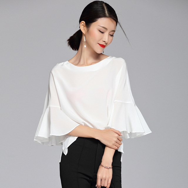48991736850 100% Silk Blouse Women White Shirt Solid O Neck Three-quarter Butterfly  Sleeves Simple Design Plus Sizes Top New Fashion 2018