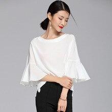 بلوزة حريرية 100% قميص أبيض حريمي سادة بياقة دائرية وأكمام على شكل فراشة تصميم بسيط مقاسات كبيرة موضة جديدة 2018