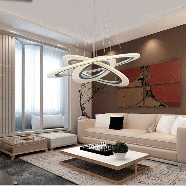 Anillos De acrílico led modernos lámpara colgante Lamparas Techo  iluminación del hogar para comedor AC85 260V luces suspensión