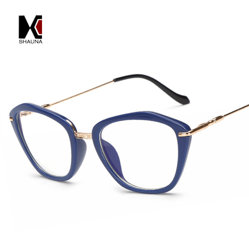 2017 Novas Molas Dobradiças Mulheres Da Moda Olho de Gato Óculos de Armação  Limpar Lens Proteção Contra Raios Azuis Óculos de Leitura a9361f3b15