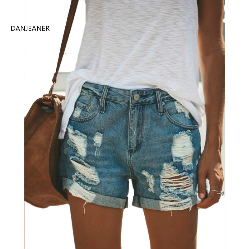 DANJEANER S-3XL Plus Size Vintage Destroyed Ripped Distressed Denim   Shorts   Mid Waist Boyfriend Hole Jeans   Shorts   for Women