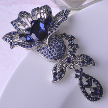 Brand Designer Big Flower Brooches For Women Elegant Rhinestone Wedding Shawl Hijab Pins c c womens brooch Sapphire Jewelry uk