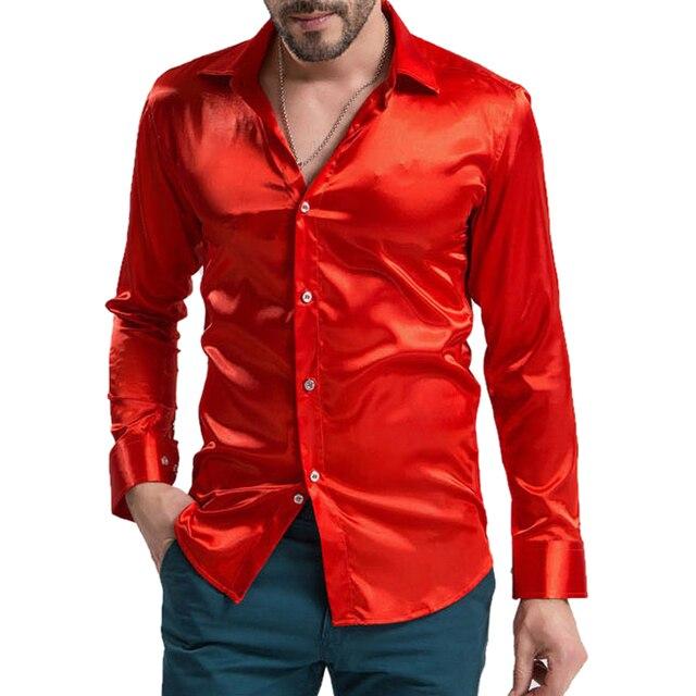 0b8baf3bed9 leisure Men s Clothing High-grade Emulation Silk Long Sleeve Shirts Men s  Casual Shirt Shiny Satin Bright red
