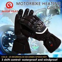 SAVIOR HEAT motorbike heating glove outdoor riding racing full fingers keep warm 40 65 degree 3 level men women SHGS28C EN13594