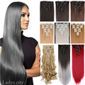 "Stock EE. UU. Local 8 UNIDS/SET Clip En Extensiones de Cabello Cabeza Llena 18 Clips Recto 26 ""66 cm Blonde Sliky Natural Marrón Negro Azul Rojo"
