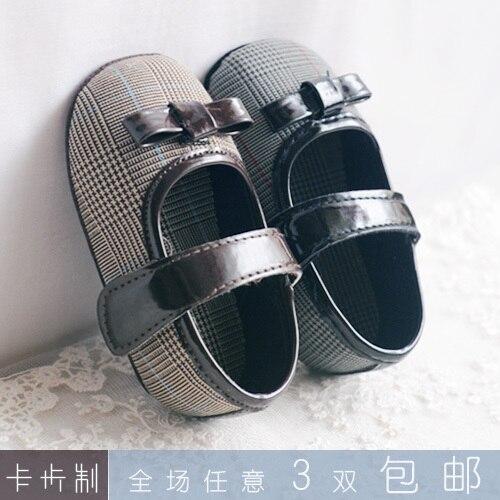 Карта малыша обувь принцесса обувь шотландка компактный кожа мягкий подошва младенцы обувь