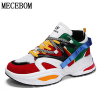 Men Trend Thick Sole Shoes Height Increasing Men Sneakers Lace up Patchwork Multi Chunky Shoe Male zapatos de hombre g890m